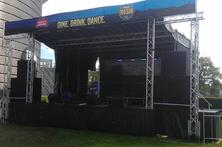 Mobile trailer stage, with sound, and banner package